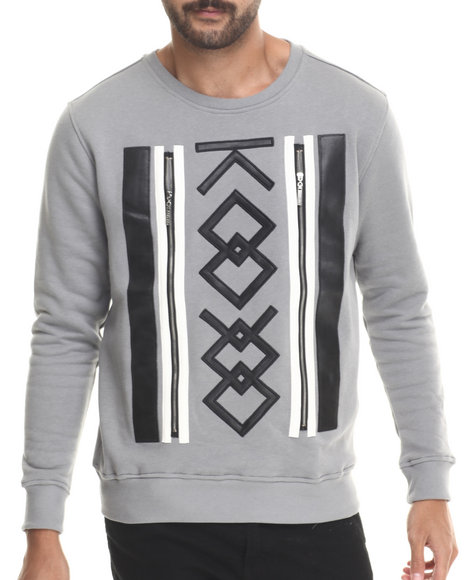 Koodoo - Men Grey Front - Zipper Applique Crewneck Sweatshirt