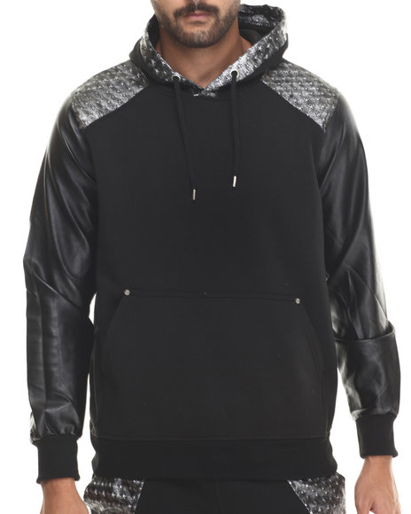 Buyers Picks - Men Black Metallic Star Faux Leather Pullover Hoody