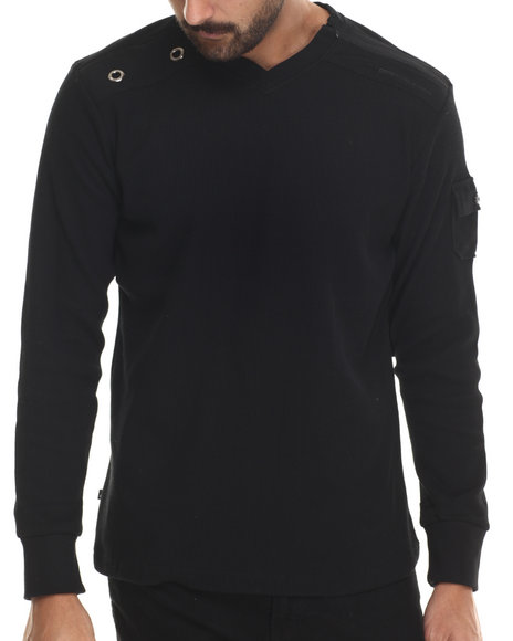 Basic Essentials - Men Black Cascade V-Neck L/S Thermal Shirt