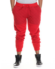 Men - Knit Quilted Faux leather Jogger Pants