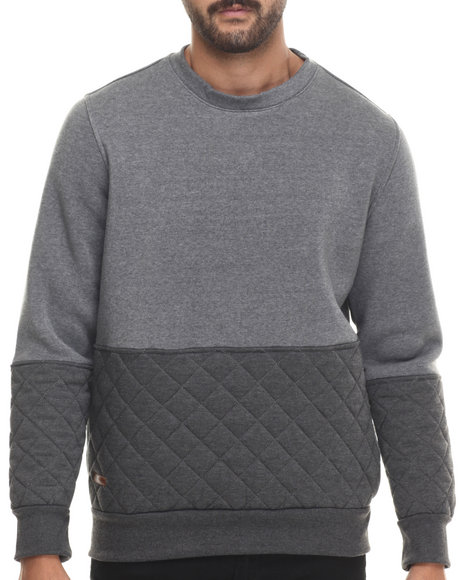 Buyers Picks - Men Grey Mo7 Quilted Crewneck  Sweatshirt
