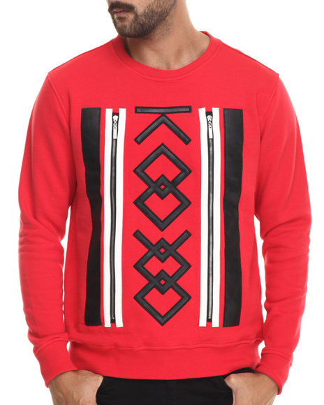 Koodoo - Men Red Front - Zipper Applique Crewneck Sweatshirt - $32.99