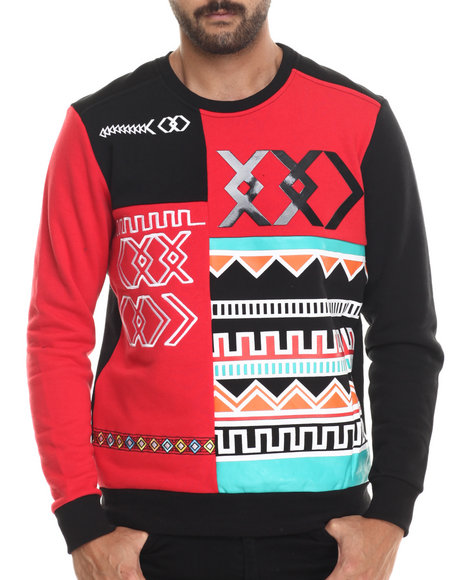 Koodoo - Men Red Tribal Color Blocked Crewneck Sweatshirt - $37.99