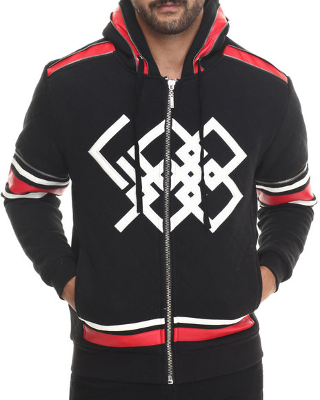 Koodoo - Men Black Quilted Hockey - Style Zip - Up Hoodie