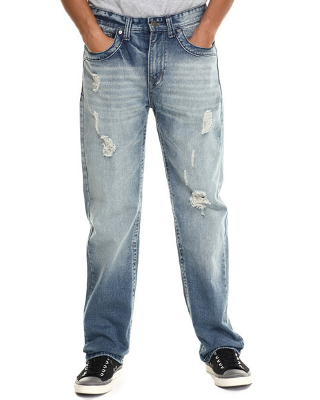 Buyers Picks - Men Medium Wash Chevron Flap - Pocket Denim Jeans - $43.99