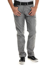Basic Essentials - Belted Flap Pocket Raw Grey Denim Jeans