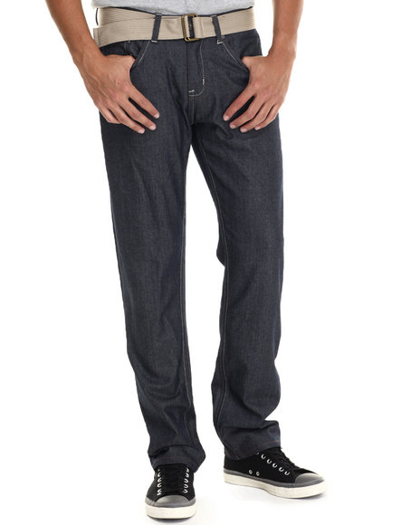 Basic Essentials - Men Raw Wash Stitch'd Belted Raw Denim Jeans