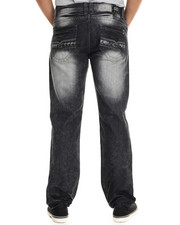Men - Metallic Faux Leather Star Trim Straight Fit Denim Jeans