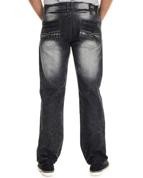 Buyers Picks - Men Black Metallic Faux Leather Star Trim Straight Fit Denim Jeans