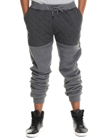 Buyers Picks - Men Grey Knit Quilted Faux Leather Jogger Pants