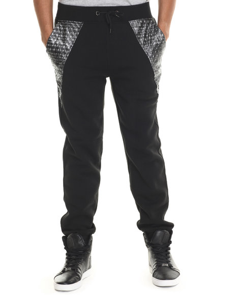 Buyers Picks - Men Black Metallic Star Faux Leather Trim Jogger Pants