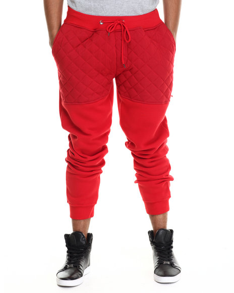Buyers Picks - Men Red Knit Quilted Faux Leather Jogger Pants