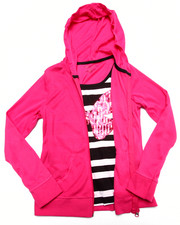 Girls - Butterfly Sequin 2fer Zip Up Hoodie (7-16)