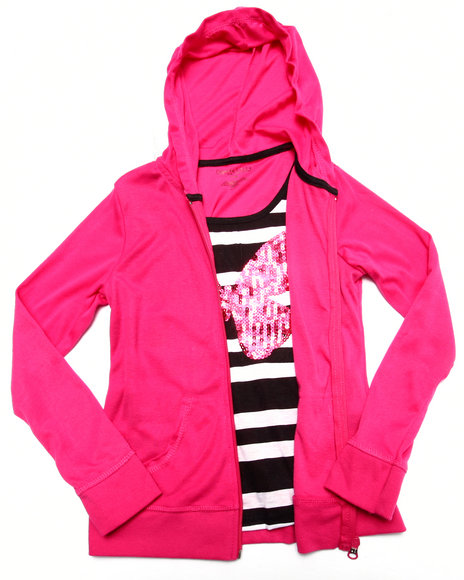 La Galleria - Girls Black,Pink Butterfly Sequin 2Fer Zip Up Hoodie (7-16) - $11.99