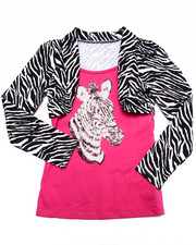 Girls - Sequin Zebra Shrug Top (7-16)