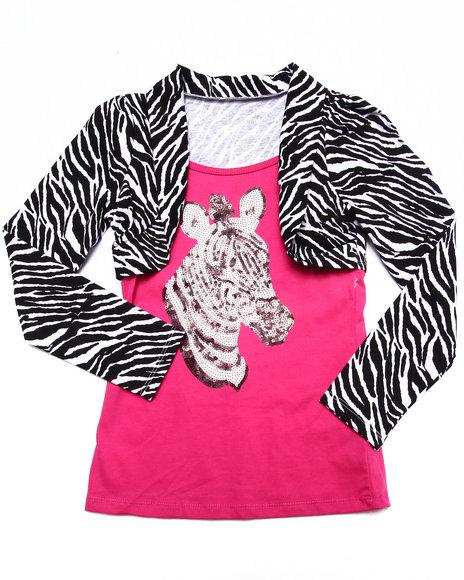 La Galleria - Girls Black,Pink Sequin Zebra Shrug Top (7-16)