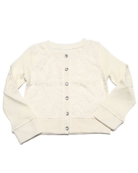 La Galleria - Girls Cream Lace Heart Elbow Patch Cardigan (4-6X)