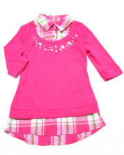 Girls - Jewel Detail Plaid 2fer Shirt (7-16)