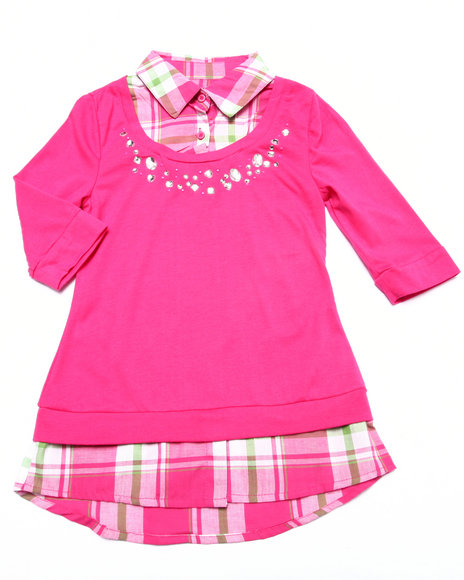 La Galleria - Girls Pink Jewel Detail Plaid 2Fer Shirt (7-16)