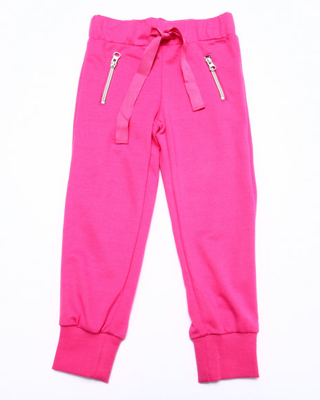 La Galleria - Girls Pink French Terry Zip Pocket Jogger Pant (4-6X)