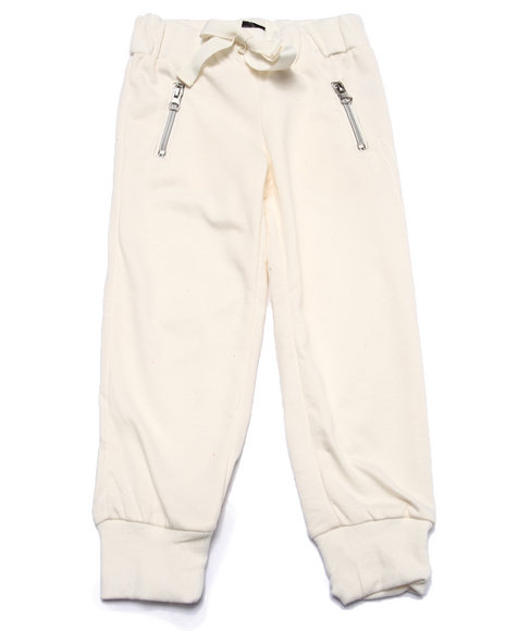 La Galleria - Girls Cream French Terry Zip Pocket Jogger Pant (4-6X)