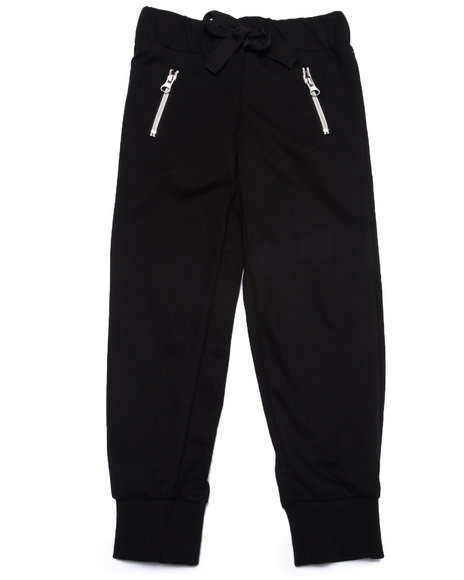 La Galleria - Girls Black French Terry Zip Pocket Jogger Pant (4-6X)