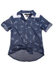 Girls - Allover Print Lace Panel Tie Front Chambray Shirt (7-16)