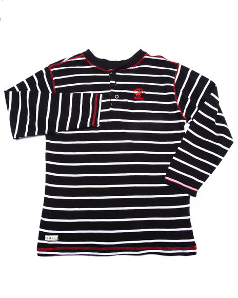 Arcade Styles - Boys Black Striped Henley (8-20) - $21.99