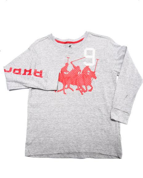 Arcade Styles - Boys Grey L/S V-Neck Bhpc Tee (8-20) - $6.99