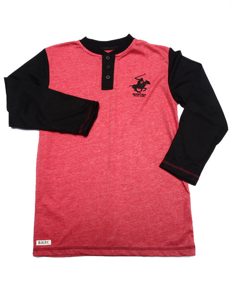 Arcade Styles - Boys Red Heather Henley  (8-20) - $15.99