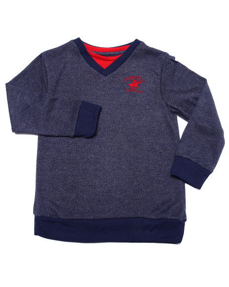 Arcade Styles - Boys Navy V-Neck Hacci Sweater (4-7)
