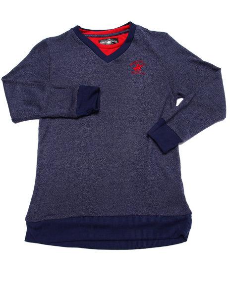 Arcade Styles - Boys Navy V-Neck Hacci Sweater (8-20)