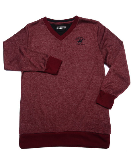 Arcade Styles - Boys Maroon V-Neck Hacci Sweater (8-20)