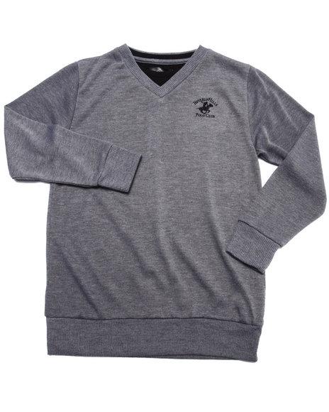 Arcade Styles - Boys Grey V-Neck Hacci Sweater (8-20) - $10.99