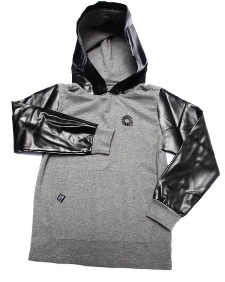 Akademiks - Boys Grey Hoody W/ Faux Leather Hood & Sleeves (8-20)
