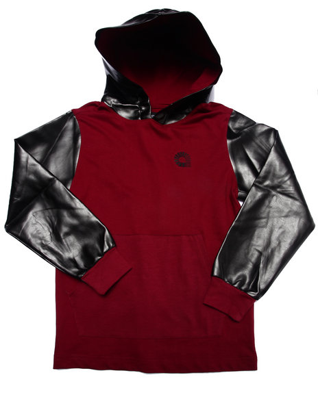 Akademiks - Boys Maroon Hoody W/ Faux Leather Hood & Sleeves (8-20)
