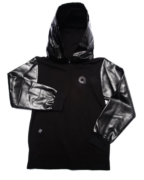 Akademiks - Boys Black Hoody W/ Faux Leather Hood & Sleeves (8-20)