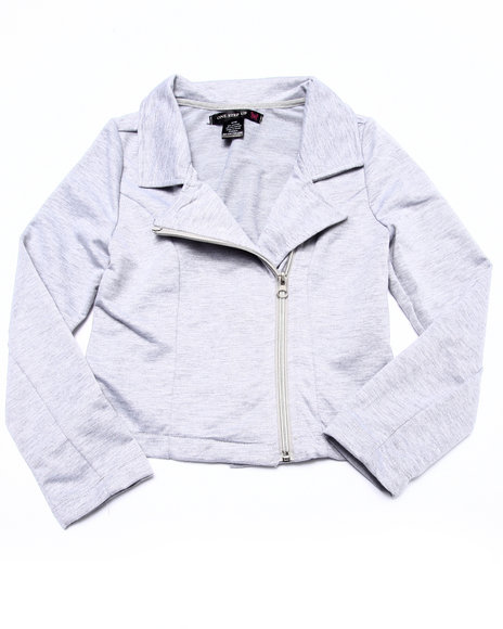La Galleria - Girls Grey French Terry Moto Jacket (7-16)