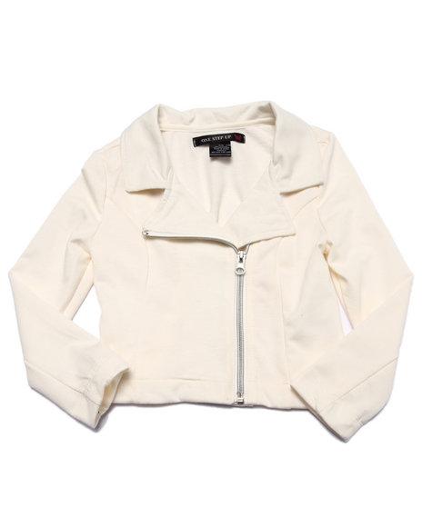 La Galleria - Girls Cream French Terry Moto Jacket (4-6X)