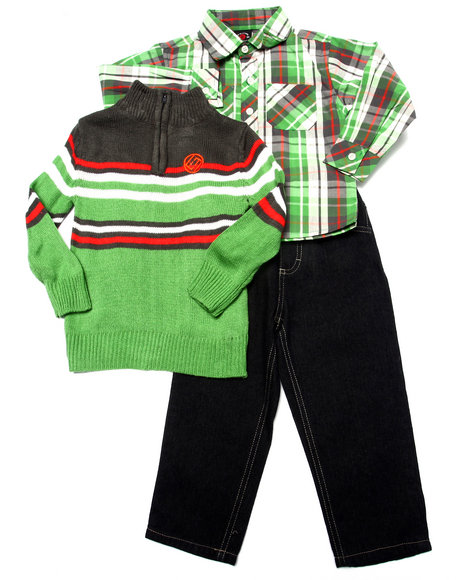 Enyce - Boys Green 3 Pc Set - Mock Neck Sweater, Plaid Woven, & Jeans (2T-4T)