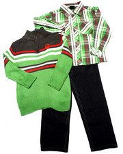 Sets - 3 PC SET - MOCK NECK SWEATER, PLAID WOVEN, & JEANS (4-7)