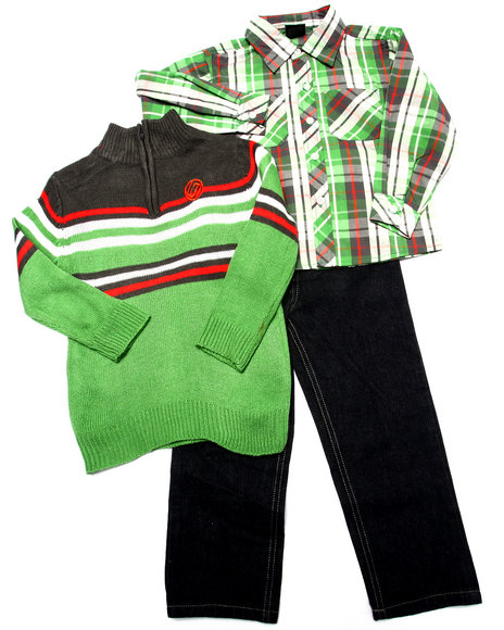 Enyce - Boys Green 3 Pc Set - Mock Neck Sweater, Plaid Woven, & Jeans (4-7)