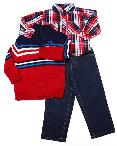 Enyce - Boys Red 3 Pc Set - Mock Neck Sweater, Plaid Woven, & Jeans (2T-4T)