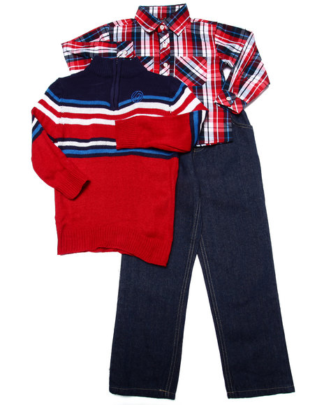 Enyce - Boys Red 3 Pc Set - Mock Neck Sweater, Plaid Woven, & Jeans (4-7) - $16.99