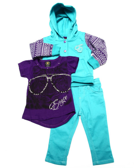 Enyce - Girls Teal 3 Pc Set - Varsity Jkt, Tee, & Jeans ( 2T-4T)