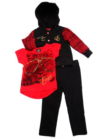 Enyce - Girls Red 3 Pc Set - Varsity Jkt, Tee, & Jeans ( 2T-4T)