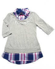 Girls - Jewel Detail Plaid 2fer Shirt (4-6X)