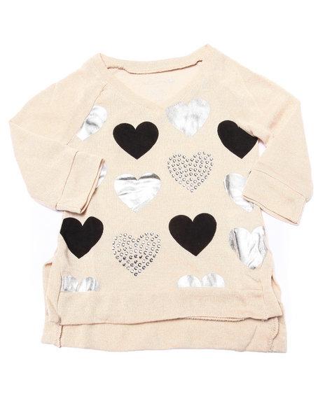La Galleria - Girls Cream Foil & Stud Hearts 3/4 Sleeve Top (2T-4T) - $14.99