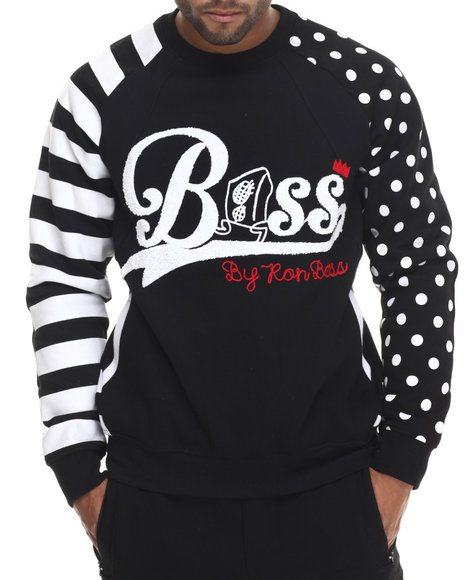 Bass By Ron Bass - Men Black Speaker Bass Raglan Crewneck Sweatshirt