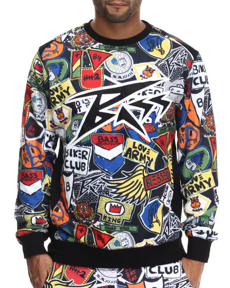 Bass By Ron Bass - Men Multi Bass Patch Crewneck Sweatshirt